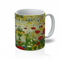 Colourful stocking filler poppy floral ceramic mug british made