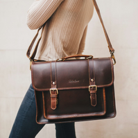 Classic Leather Satchel for Men and Women in Coffee  by Niche Lane