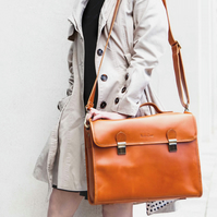 Leather briefcase with shoulder strap in Tan, Waring by Niche Lane