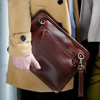 Leather iPad bag or laptop pouch with wrist and shoulder strap