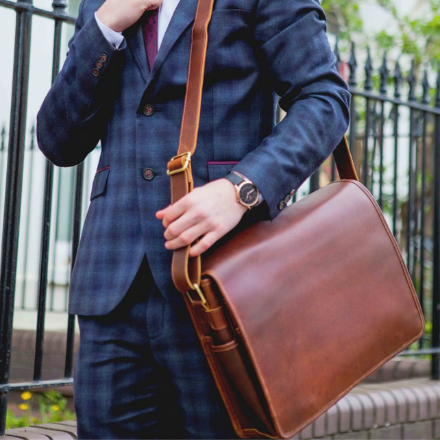 Leather messenger bag with laptop compartment in Coffee - Ryton by Niche Lane