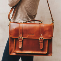 Classic leather satchel in tan with laptop compartment by Niche Lane