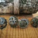 Stunning Steampunk Silver and Bronze Cog and Gear Cufflinks