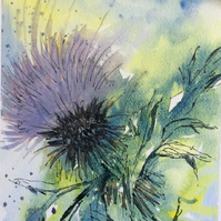 Wild Thistle, Fine Art Greetings Card, Watercolour, Blank, A6