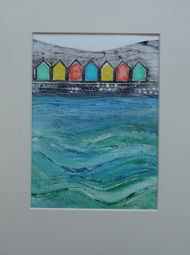 Original Collagraph of Whitby Beach Huts, Yorkshire Coast