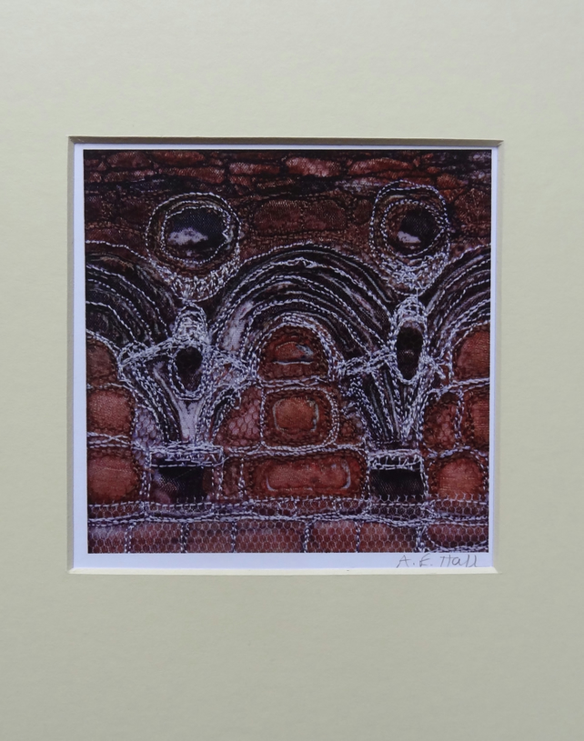 Digital Print of Whitby Abbey 1 - fabric collage and embroidery