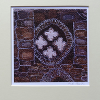 Digital Print of Whitby Abbey 2 - fabric collage and embroidery