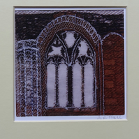 Digital Print of Whitby Abbey 3 - fabric collage and embroidery