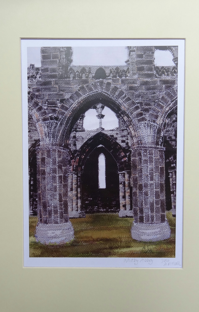 Limited Edition Digital Print of Whitby Abbey - fabric collage and embroidery
