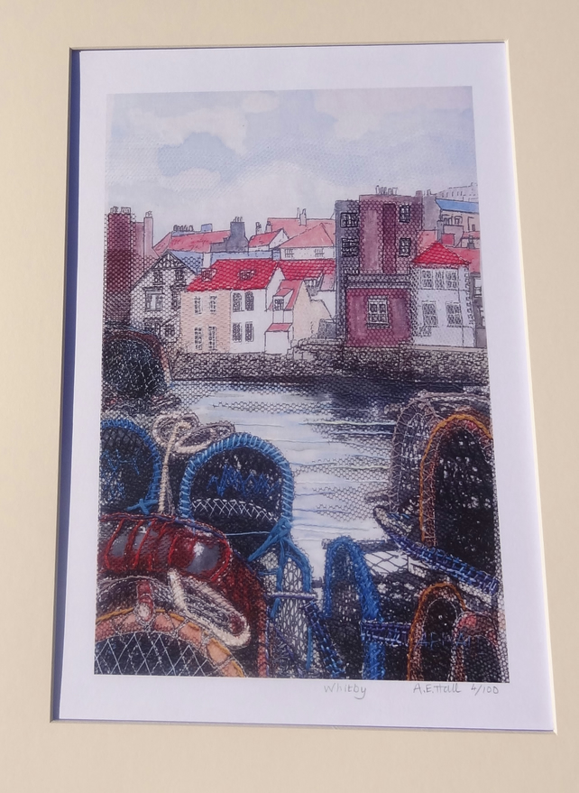 Whitby Harbour, North Yorkshire: Limited edition mixed media print