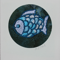 Embroidered Fish Card