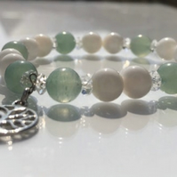 Milky Quartz Crystal-Green Aventurine-Tree of Life Bracelet - FREE SHIPPING