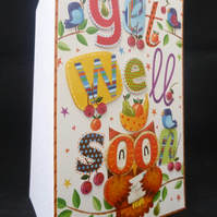 Cheeky Owl 'Get Well Soon' Handcrafted Greeting Card