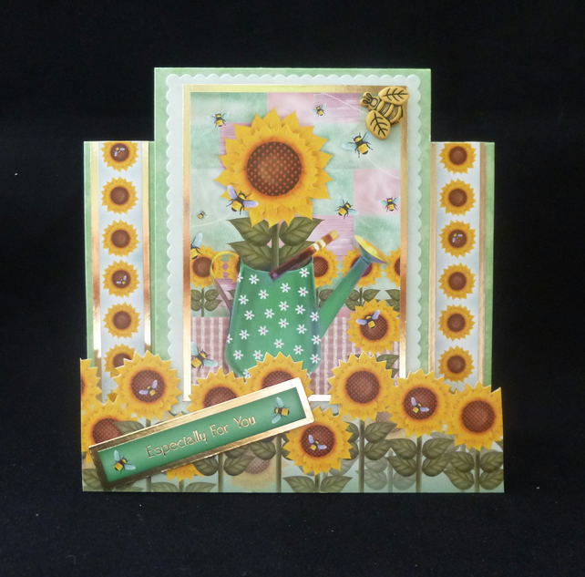 A pretty Sunflowers & Bees Birthday Stepper Card - Handcrafted
