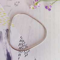 Triangle shaped bangle, recycled sterling silver with hammered texture.