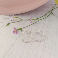 Open circle stud earrings, recycled sterling silver, minimal style
