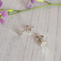 Tiny square stud earrings. Minimal style recycled sterling silver
