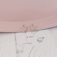 Heart outline stud earrings, handmade with recycled sterling silver