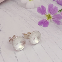 Round petal imprint stud earrings, handmade with recycled sterling silver