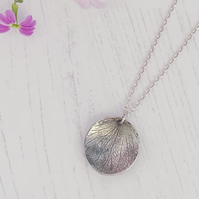 Petal imprint texture necklace, handmade with recycled sterling silver