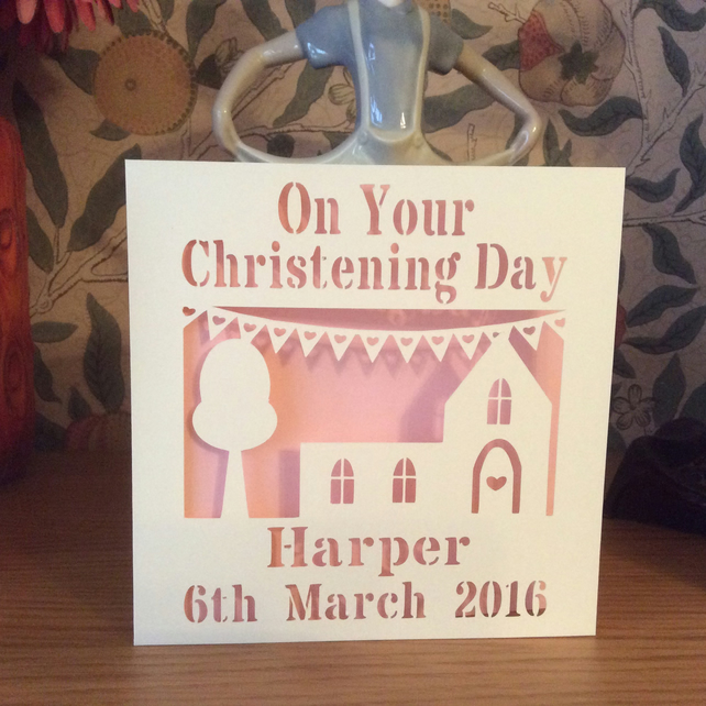 Christening, Baptism, Naming Day Card - Personalised, Papercut