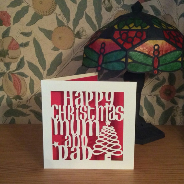 Happy Christmas Mum and Dad Card - Papercut