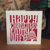Papercut Happy Christmas to my Wife Card