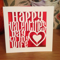 Papercut - Happy Valentine's Day to my Wife Card