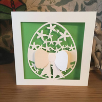Easter Card With 3D Bow - Papercut - Happy Easter Card - Easter Egg Card