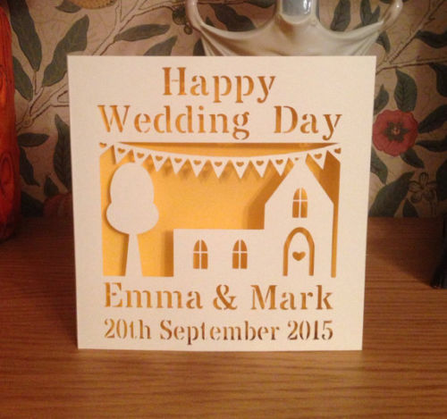 Wedding Card - Papercut - Personalised - Happy Wedding Day - Church