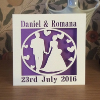 Wedding Card - Bride and Groom Card - Happy Couple Card - Personalised Papercut
