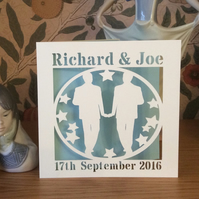 Gay Wedding Card - Groom and Groom Card  - Mr and Mr - Papercut - Personalised