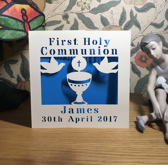 Personalised First Holy Communion Card With Chalice and Doves - 1st Communion