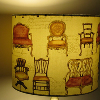 New Handmade Fabric Lampshade - Vintage Chairs Fabric - 20cms