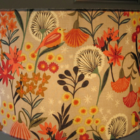 New Handmade Fabric Lampshade - Orange, Green,Cream Birds Floral - 30cms