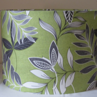 New Handmade Fabric Lampshade - Green, Black, Grey Leaves - 30cms