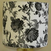 Handmade Fabric Lampshade Contemporary Floral Shabby Chic Black & White 20cm