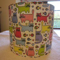 Handmade Lampshade Nursery Baby Children Pink Blue Green Cats 20cm