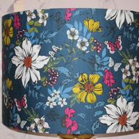 Handmade Fabric Lampshade Contemporary Makower Multi floral teal very chic 20cm