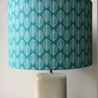 Handmade Fabric Lampshade scandi creamy white leaves on lovely green fabric 30cm