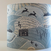 Handmade Fabric Lampshade 'Into the Woods' blue countryside cottages hares 30cm