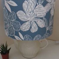 Handmade Fabric Lampshade Pale Grey Duck Egg Scandi Lily design modern 20 cms