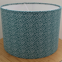 Handmade dark green and white 'seeds' design 30 cm drum lampshade