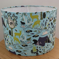 Handmade 30cm lampshade in pale blue 'forest' theme
