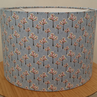 Handmade 30cm drum lampshade in pale blue 'trees' design