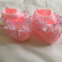 Hand Knitted Baby Girl Lace shoes