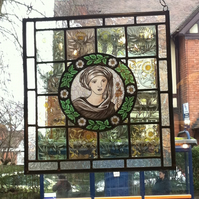 Handmade William Morris inspired stained glass window art piece.
