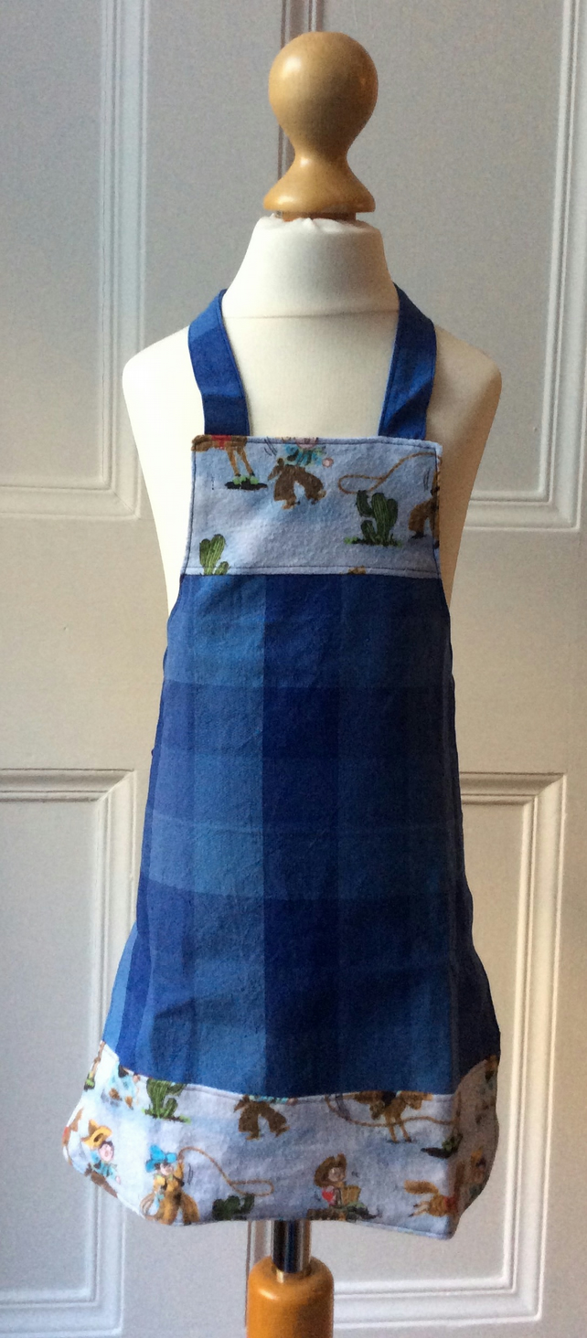 Child's Apron - Cowboys and Checks Age 2-4