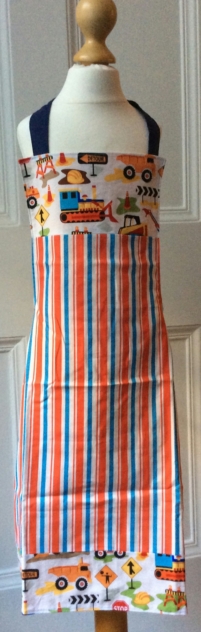 Child's Apron - Construction & Stripes Age 3-5