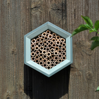 Bee House, Bee Hotel and Insect House in Green Shades, Hexagon. Gift for Garden.